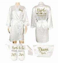 Benutzerdefinierte Lange Robe Hochzeit Persönlichkeit robe für Bridedal Party Emulation Seide Weichen Hause Bademantel Für Frauen Kimono Roben hausschuhe