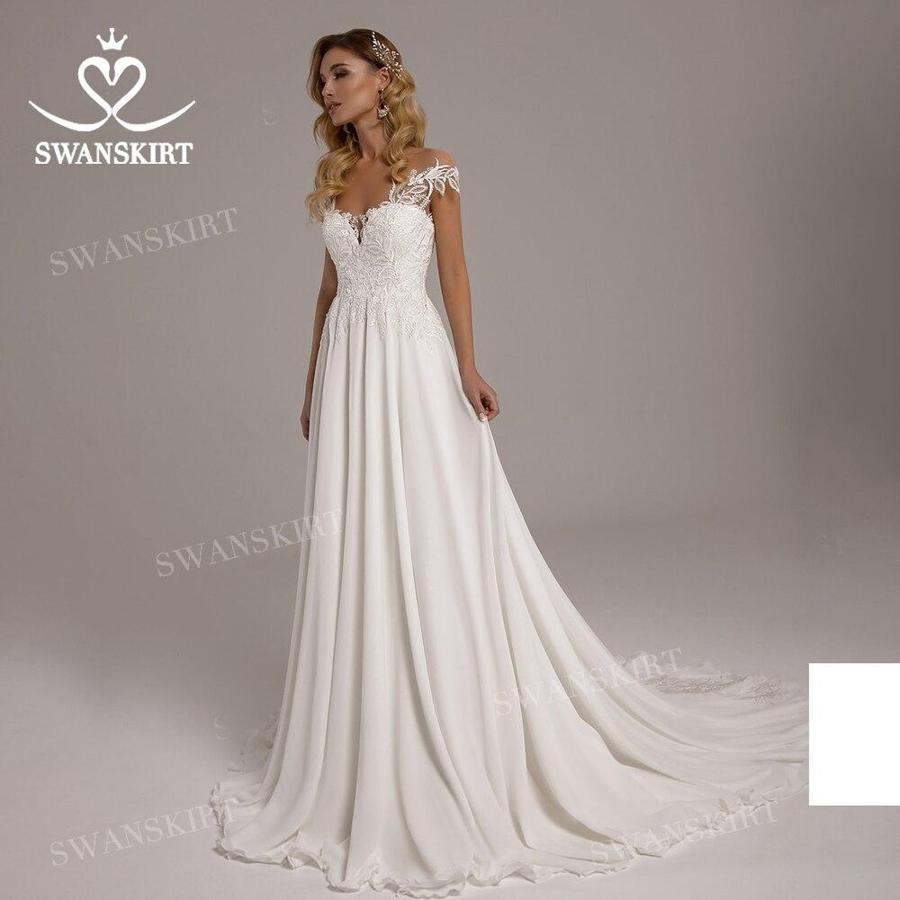 Chérie sans manches robe De mariée 2020 appliqué a-ligne plage Vestido De Novia princesse swanjupe T119 grande taille robe De mariée