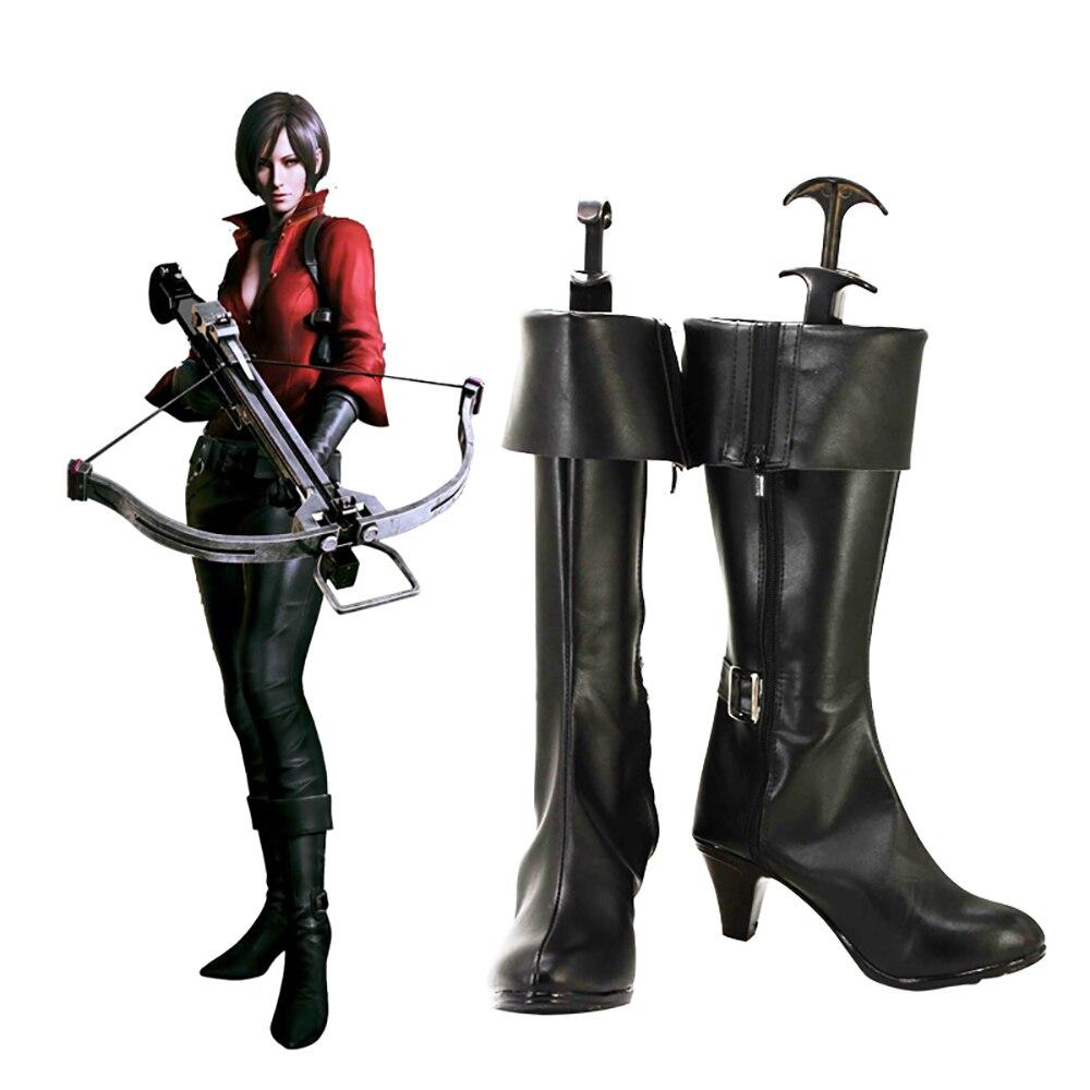 Botas personalizadas Ada Wong Cosplay zapatos negros de tacón alto hechos a medida