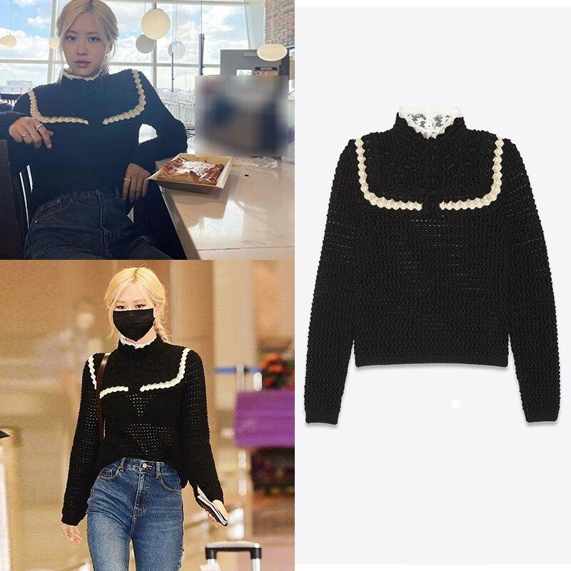 سترات Kpop الكورية الشهيرة باللون الأسود المحبوك بأكمام طويلة للسيدات مثيرة للخريف ملابس الشارع ملابس غير رسمية من الدانتيل بلوفر علوي