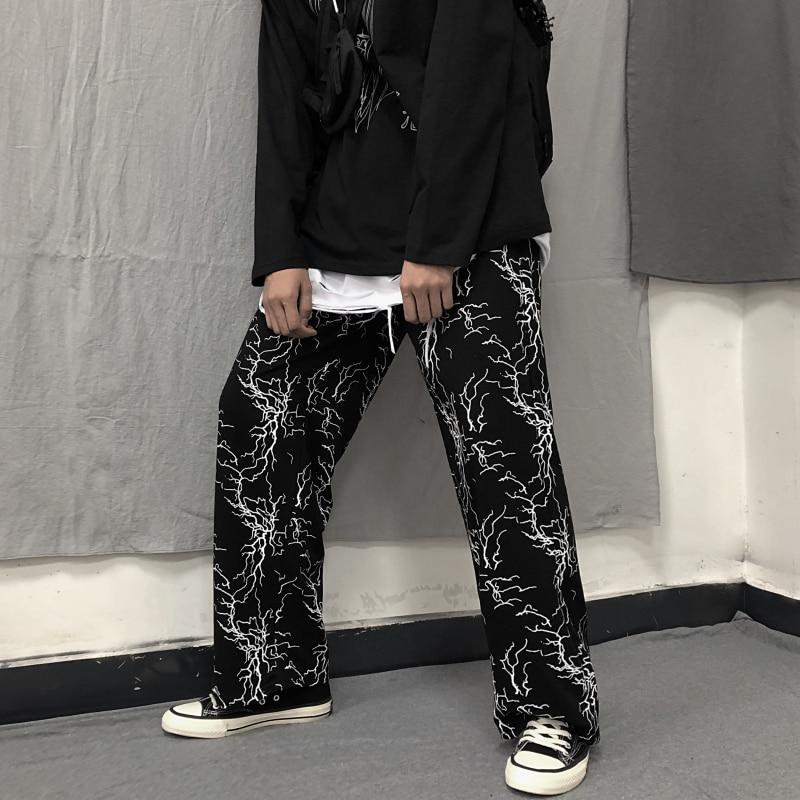 Graffiti contraste imprimir elástico cintura solta em linha reta punk pant streetwear feminino homem coreano plus size harajuku sweatpant fino