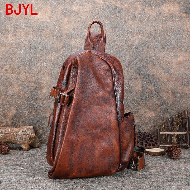 حقيبة صدر جلدية للرجال ، حقيبة كتف مصنوعة يدويًا بسحاب ، حقيبة أعمال ، حقيبة ظهر جلدية ناعمة ريترو