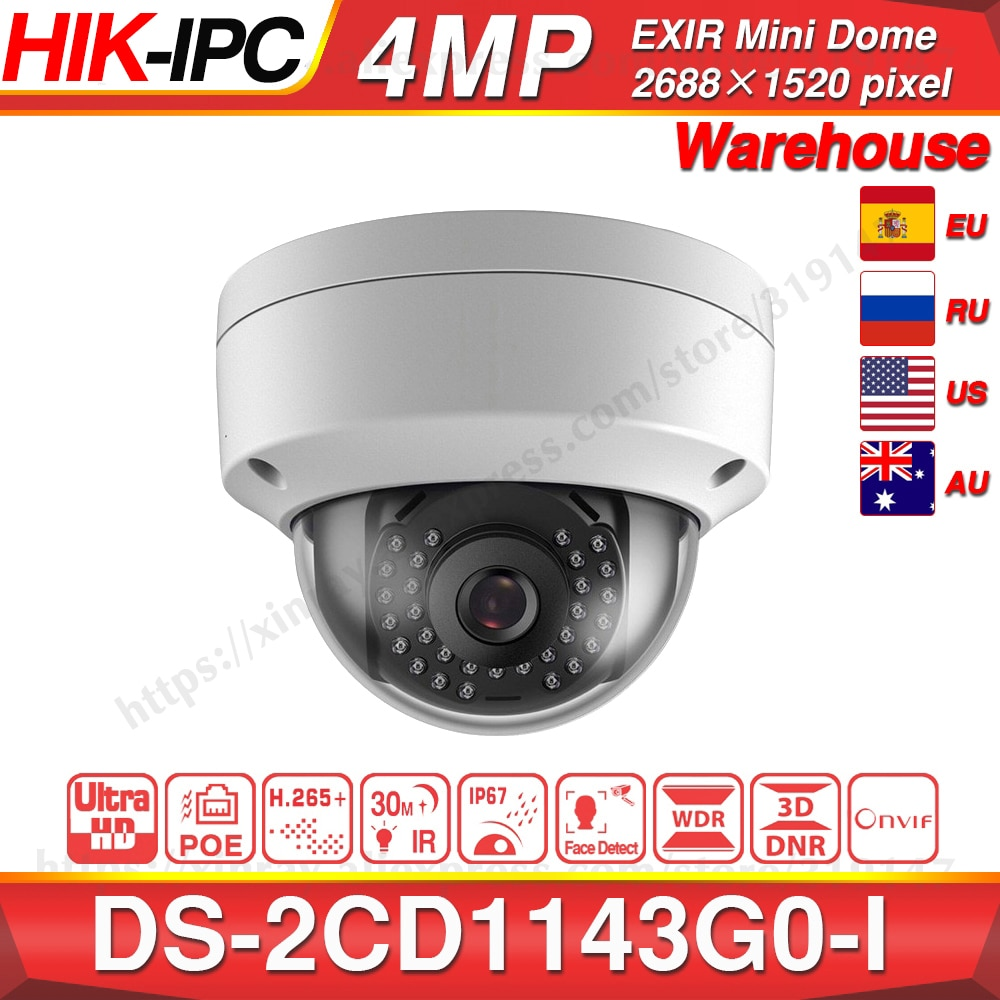 Hikvision DS-2CD1143G0-I POE Camera Video Surveillance 4MP IR Network Dome Camera 30M IR IP67 IK10 H.265+