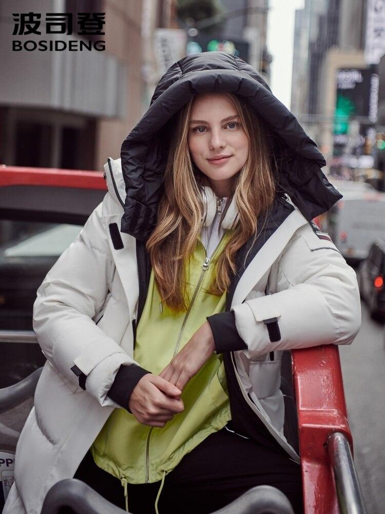 Новая женская куртка BOSIDENG со съемной шапкой и капюшоном, белый гусиный пух, средней длины, бархатное новое пальто, трендовая Женская куртка B90142186