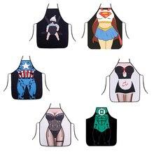 Tabliers en coton et en coton   Mode, cuisine, dessin animé mignon, impression imperméable, sexy hommes femmes tabliers drôle superman toilettage super-héros