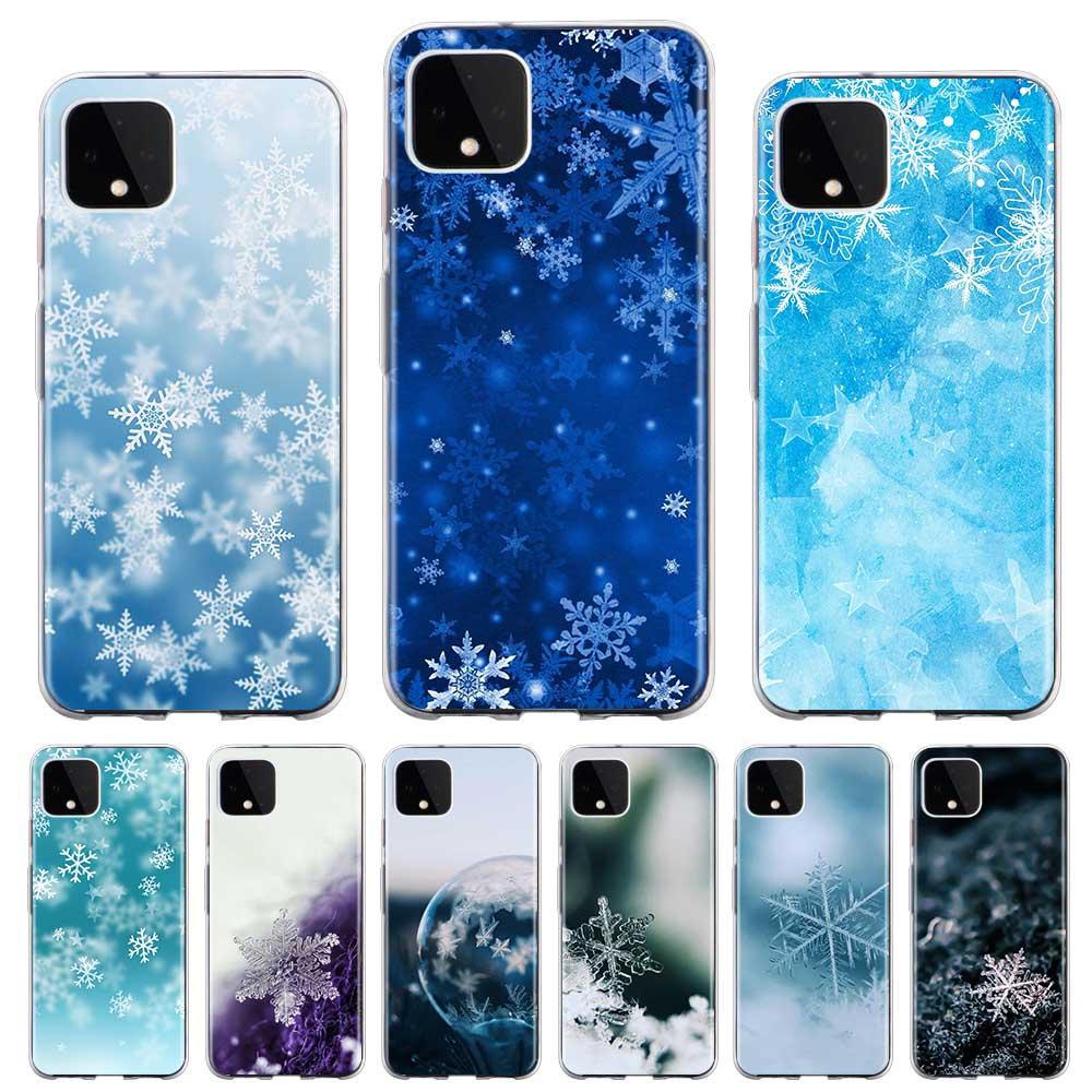 Natal floco de neve transparente caso de telefone para google pixel 4 xl pixel 4 pixel 4a silicone macio volta capa coque concha fundas