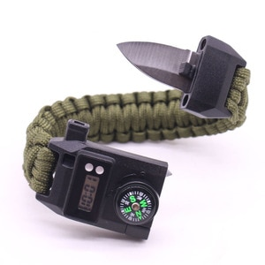 Outdoor Survival Multi-Function Men Women Bracelets Watchband Mountaineering   Cycling Rope Compass Whistle Watch Steel Knife