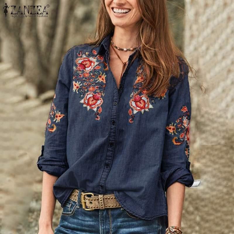 2020 ZANZEA otoño moda Denim Camisas azules blusa de mujer bordado elegante manga larga Chemise mujer botón abajo Blusas 5XL