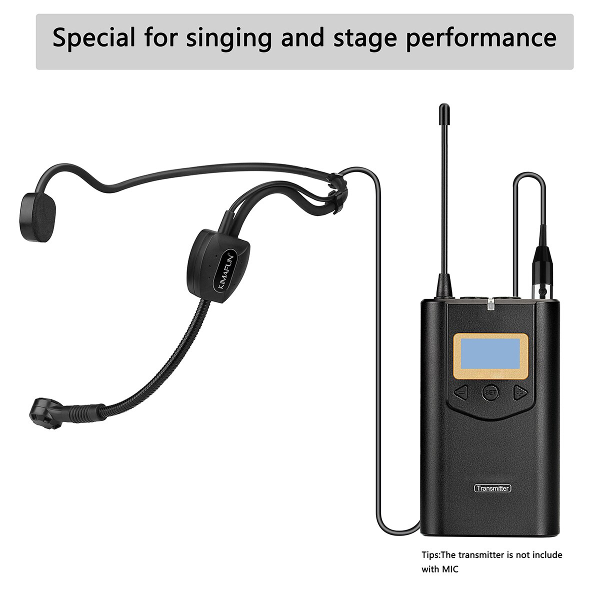 KIMAFUN Black Headset Mic Unidirectional Condenser Microphone For Sennheiser Wireless BodyPack Transmitter 3.5mm Lockable enlarge