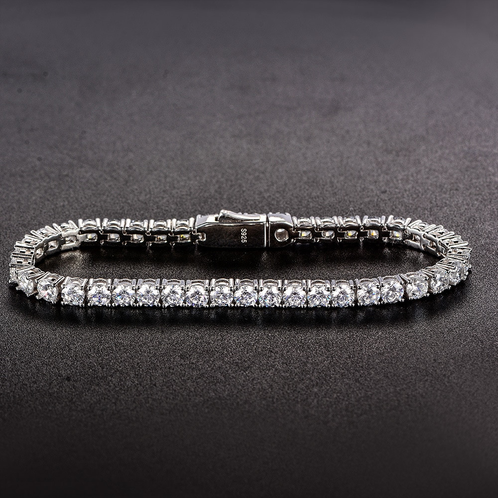 100% 925 Sterling Silver 3.7MM Lab Diamond Simulated Moissanite Tennis Bracelets for Women Men Party Birthday Fine Jewelry Gifts