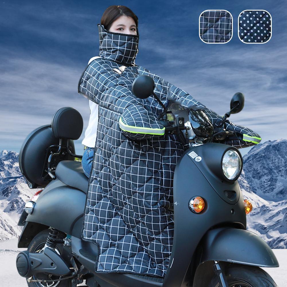Colcha a prueba de viento para motocicleta gruesa ropa abrigada parabrisas impermeable bolsillos grandes integrados para Scooters invierno