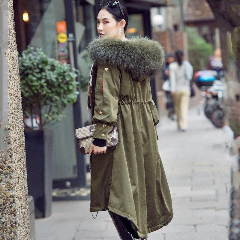 Winter Coat Women Korean Real Mink Fur Coat Women Raccoon Fur Collar Real Fur Parka Women Clothes 2020 Manteau Femme 602 YY1032
