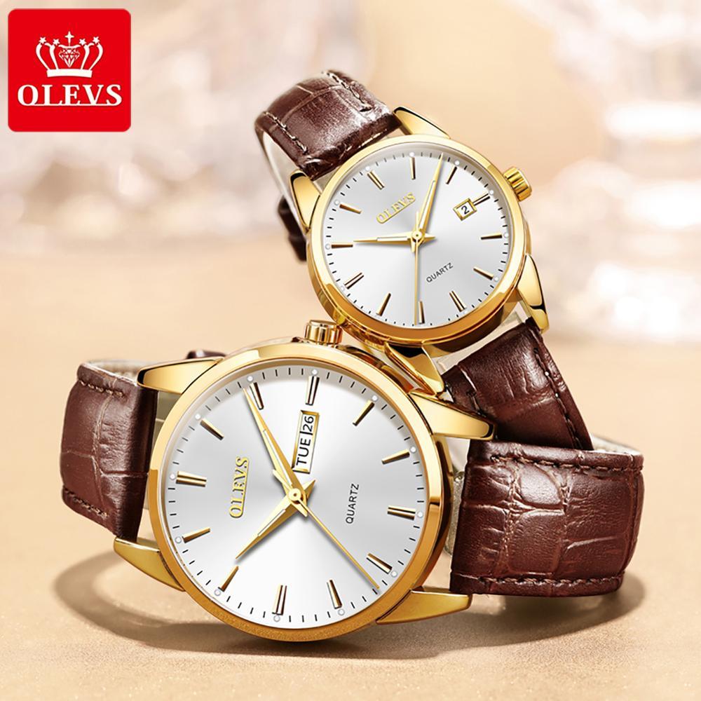OLEVS Роскошные брендовые парные кварцевые часы, водонепроницаемые часы из нержавеющей стали, женские и мужские часы, подарок для пары