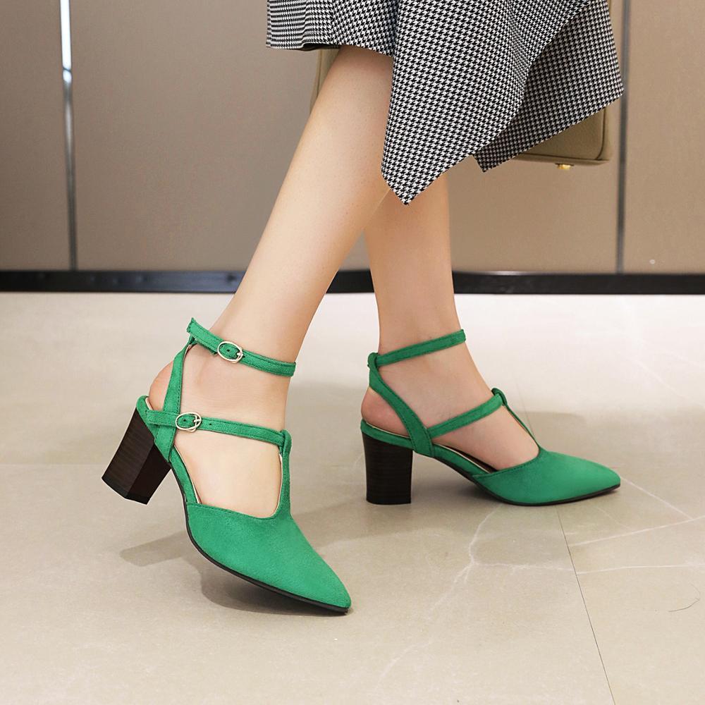 Sexy superficial sandalias de las mujeres zapatos de tacón alto zapatos de Mujer tacón Zapatillas Mujer bombas señaló directamente hebilla sandalias para Mujer