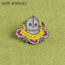 Licône de dessin animé dart de Robot dépingle géante de fer citation de film dinsigne dinsigne dinsigne démail doux inspirant pour des bijoux de Robot dhommes de femmes