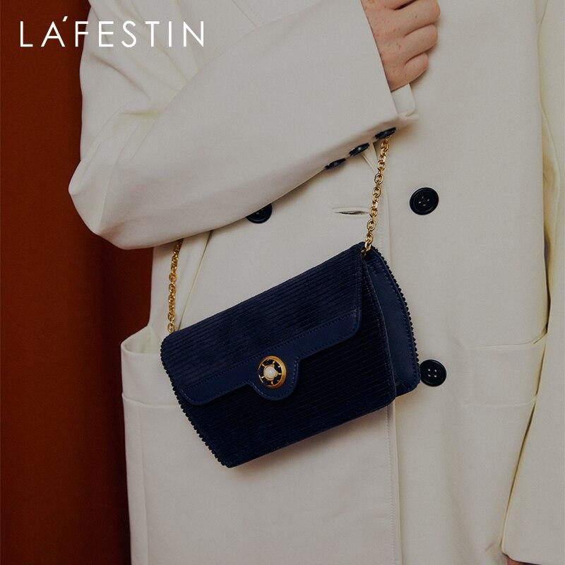LA FESTIN 2020 new women's bags, trendy fashion retro chain small square bag, light luxury one-shoulder messenger sunset bag