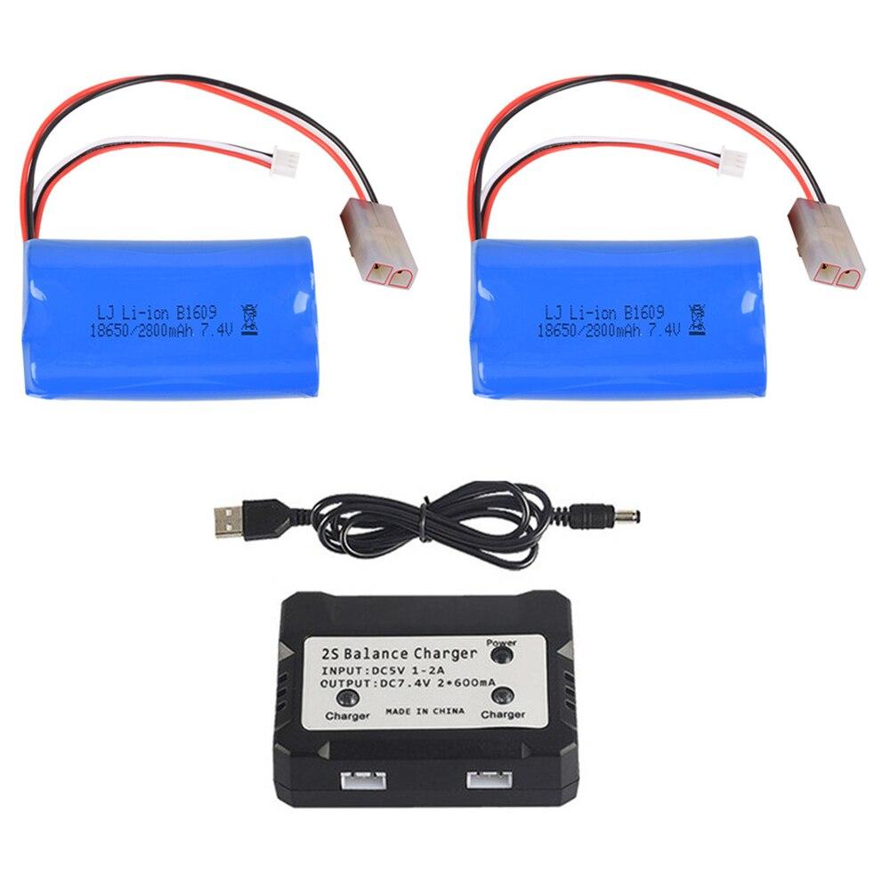 7,4 V 2800mAh Lipo batería con cargador de equilibrio para henglong 3809, 3816, 3818, 3819, 3838, 3839, 3869, 3879, 3888 RC tanques HJ806 partes
