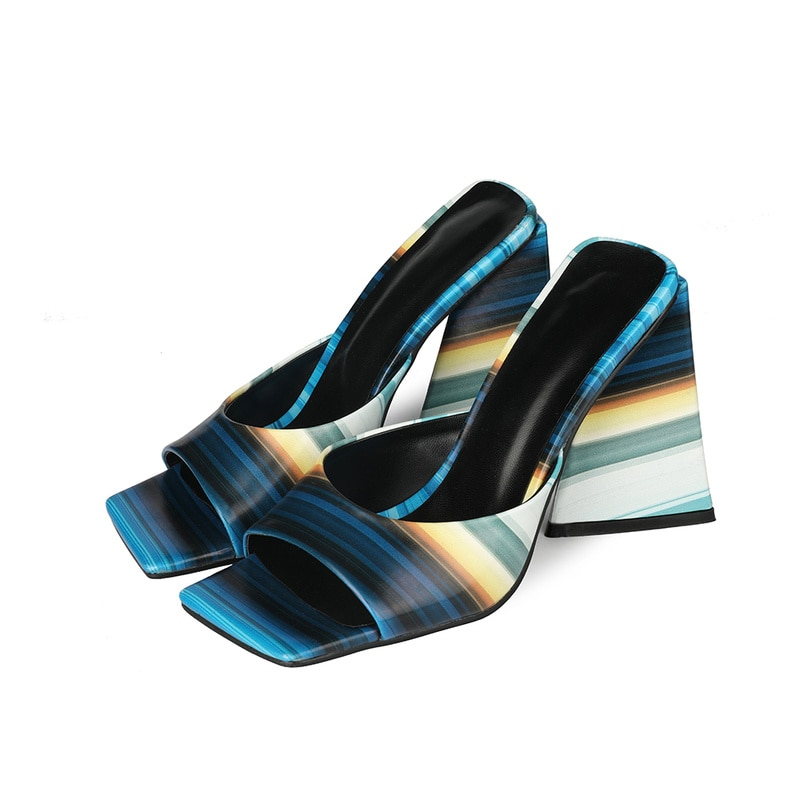 High-heeled slippers women summer outdoor sandals 2021 sexy high-heeled shoes painted stripedwomen's shoes sandals slipperswomen