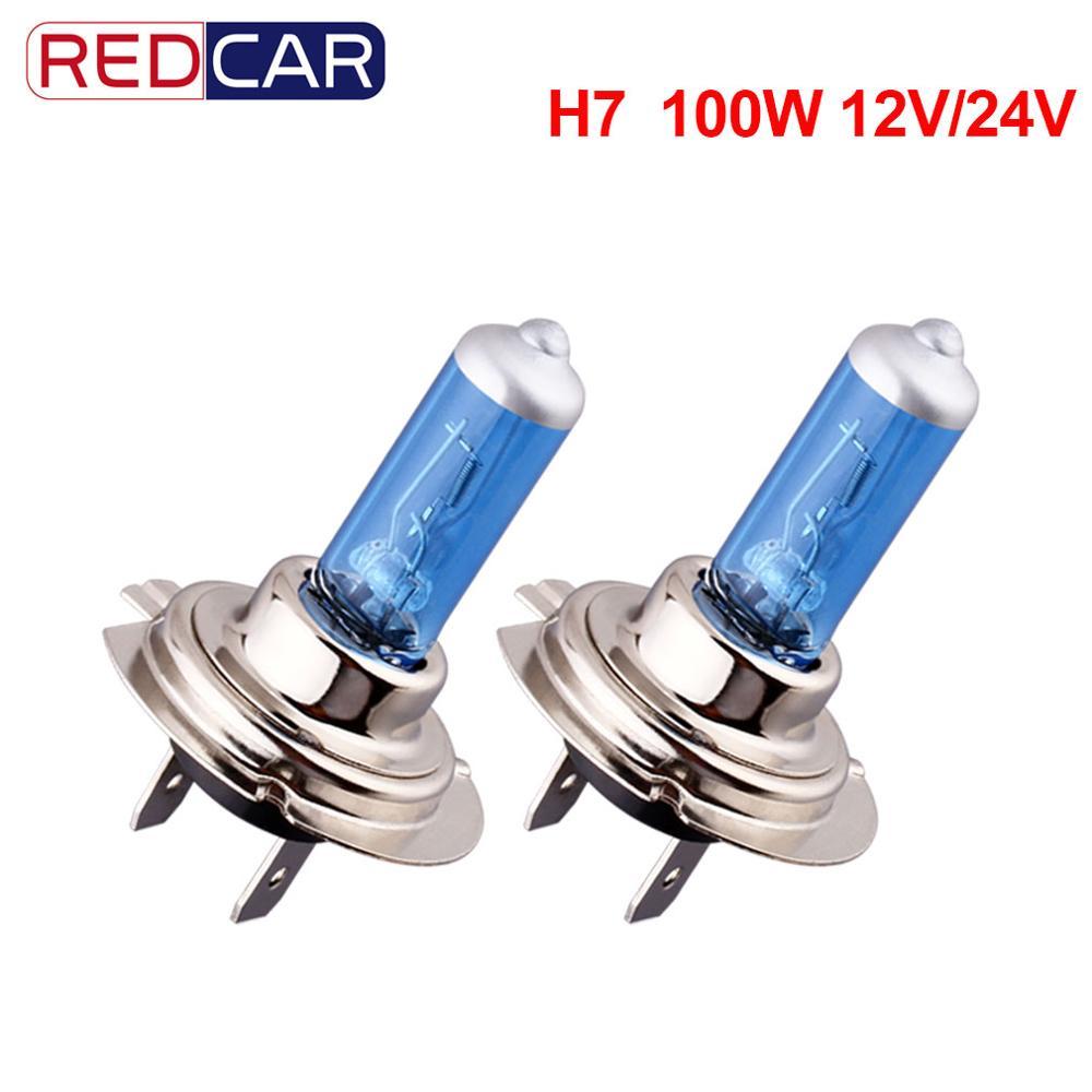 2 uds H7 100W Super brillante blanco 12V 24V luces antiniebla bombilla halógena fuente de luz de coche aparcamiento de alta potencia faros de coche Auto lámpara