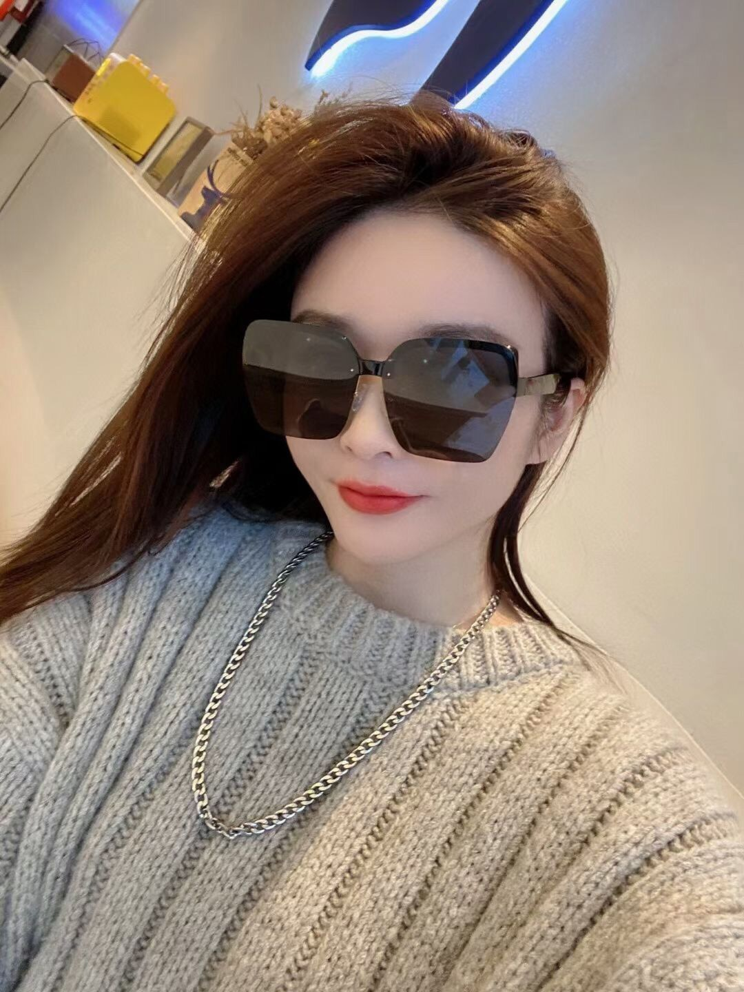 With Box 2021 new fashion square ladies sunglasses Luxury brand design square men's glasses large fr