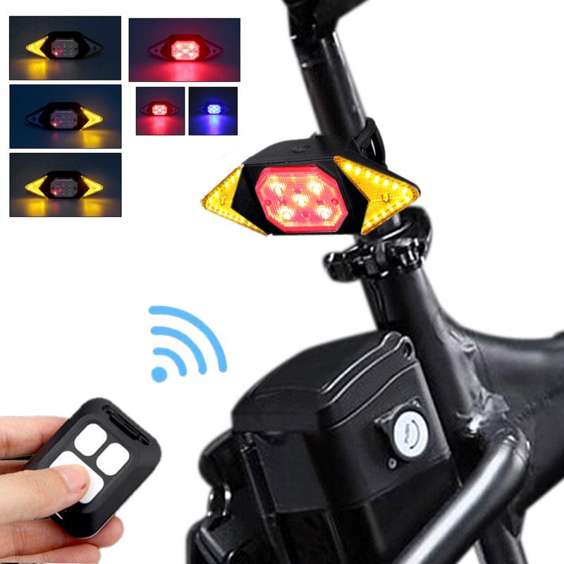 Умный велосипедный фонарь с дистанционным управлением, беспроводной поворотный сигнал, задний фонарь с зарядкой по USB, светодиодный Предуп...