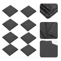 8pcs square heat insulation coffee cup mats natural cocktail cup mats black