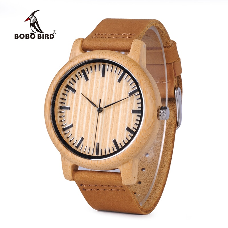 BOBO BIRD, reloj informal de madera para hombre, relojes de cuarzo de bambú con correas de cuero, relojes de mujer, marca de lujo con caja de regalo