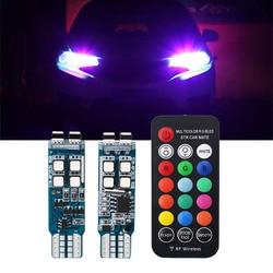 2 pces carro flash strobe luz t10 w5w 194 lâmpadas rgb com controle remoto interior 12 v farol cunha led atmosfera transformar luzes