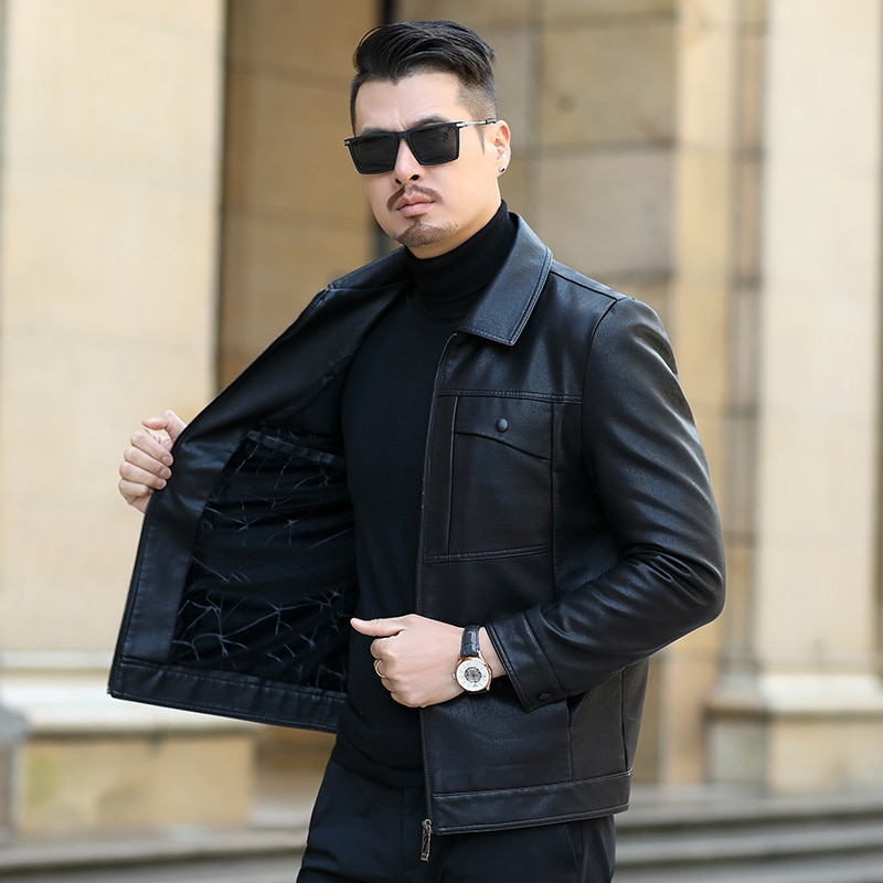 Men Winter Leather Jacket Fashion Mens Patchwork Leather Bomber Jackets Fleece Thicken Warm Casual Motorcycle Coats Outwear