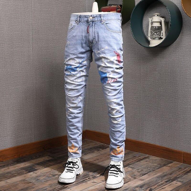Европейские американские уличные модные мужские джинсы ретро светло-голубые дизайнерские джинсы с принтом мужские брюки в стиле ночного к...