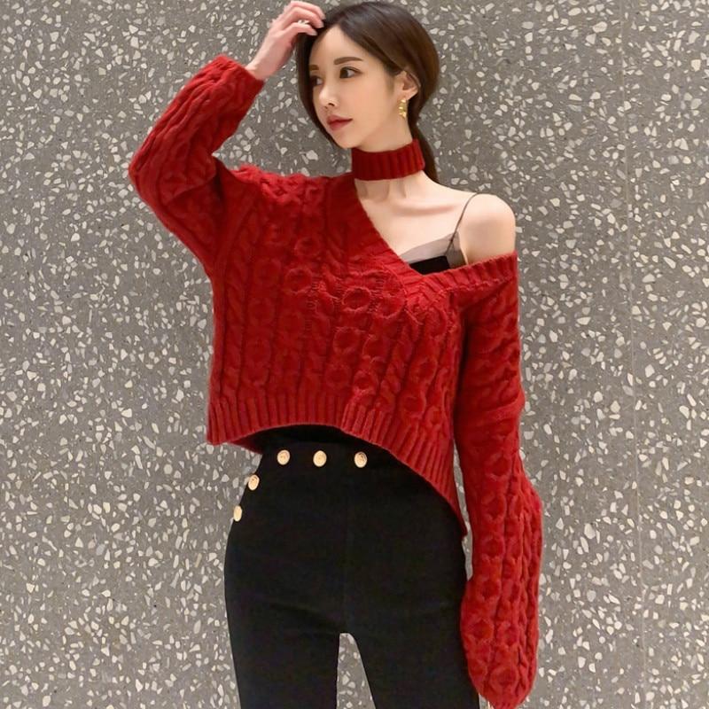 Inverno feminino v-neck halter tricô pano curto manga comprida casual camisola vermelha topo
