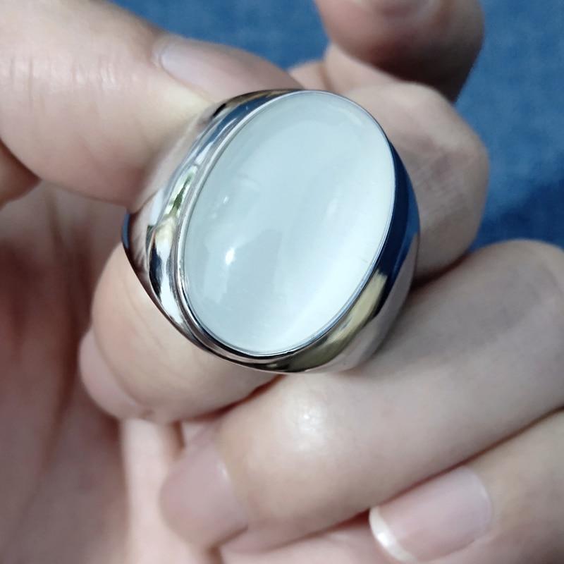 Nuevos anillos de piedra blanca grandes para hombres y mujeres, joyería Tribal masculina de acero inoxidable y plata para regalo de moda de boda para mujeres