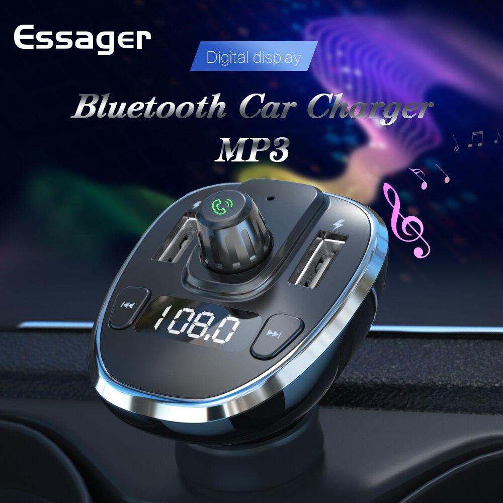 Essager-cargador USB de coche para teléfono móvil, transmisor FM manos libres con...