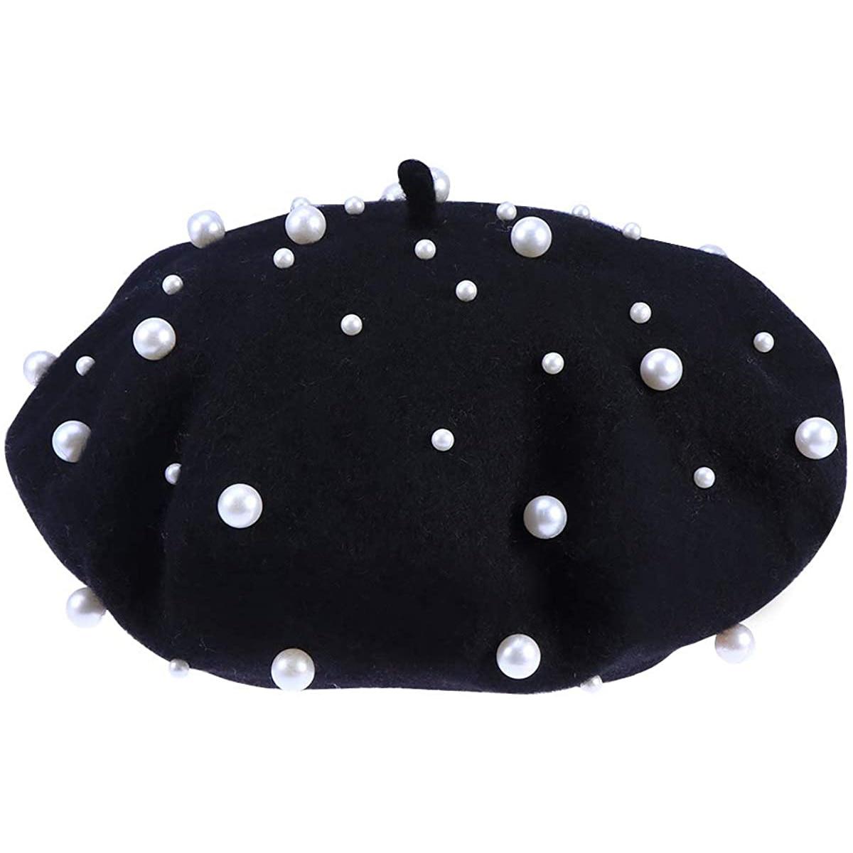 Women Girls Princess Pearl Woolen Berets Plain French Beret Hat  Beanie Autumn Winter Warm Wool Hat