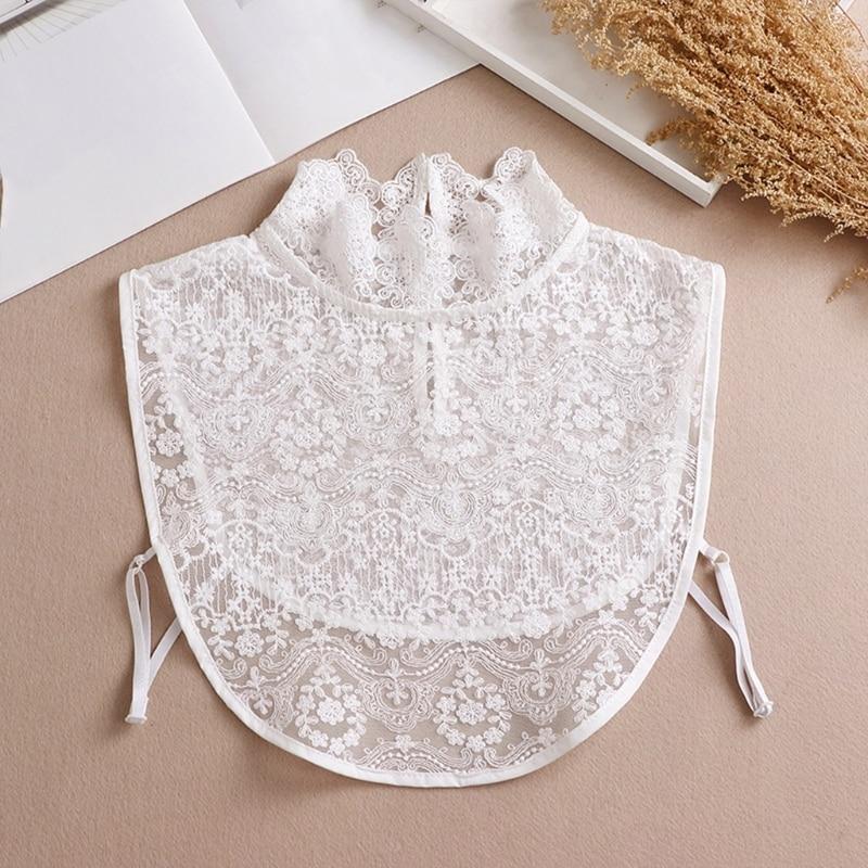 2021 Women Ruffles Turtleneck Decorative False Fake Collar Sheer Floral Lace Curved Hem Detachable Half Shirt Dickey Blouse v placket curved dip hem blouse