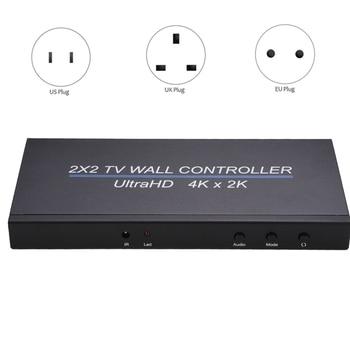 4K 60HZ 2X2 Video Wall Controller 4 Ways TV Processor Large Screen Splicer Multi Image Stitching, 4Kx2k