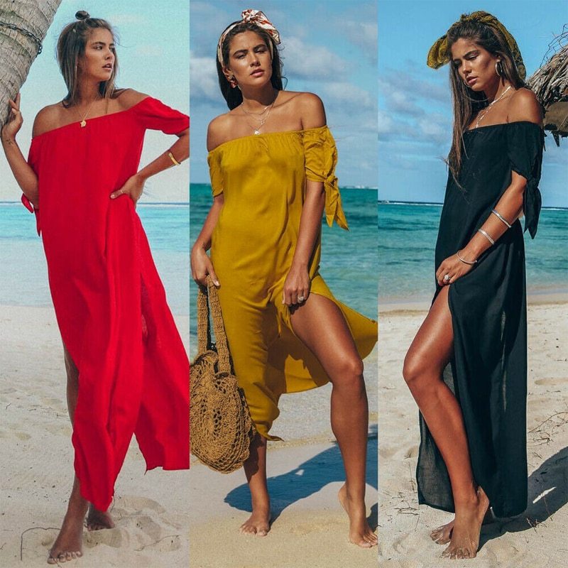 Sexy Off Shoulder Beach Dress Women Tunic Swimsuit Short Sleeve Solid Cover Up Summer Maxi Beach Dresses sexy beach summer dresses women 2019 solid chiffon a line short holiday dress backless bowknot ladies beach cover up plus size