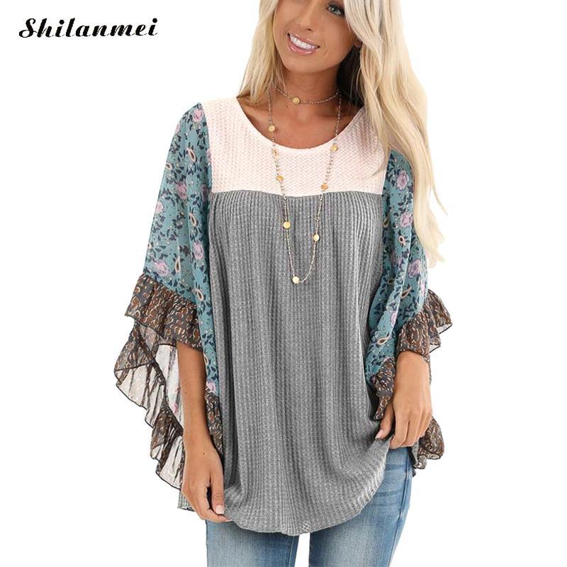 Women Autumn Knitting Pullovers Loose Streetwear Knit Sweater Ruffles Sleeve Patchwork Casual Fashion Loose Jumper Knit Tops drop shoulder open knit jumper