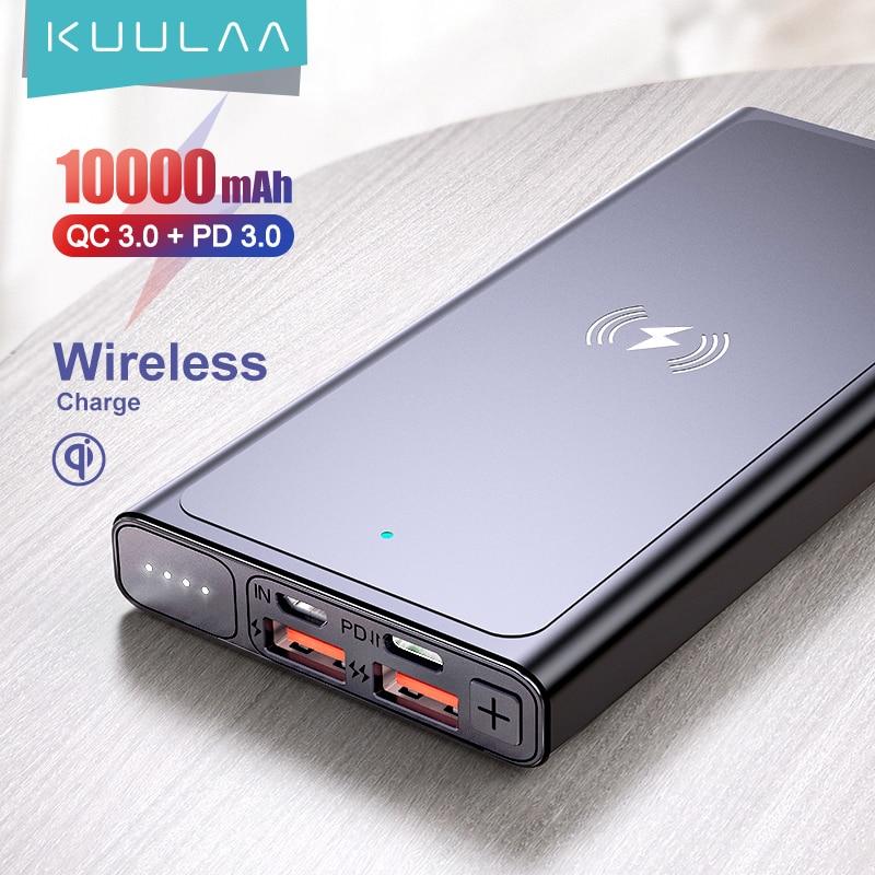 KUULAA-بطارية خارجية بقوة 10000 مللي أمبير في الساعة وشاحن لاسلكي Qi وبنك طاقة لأجهزة iPhone11 و X و Samsung و huawei و Xiaomi