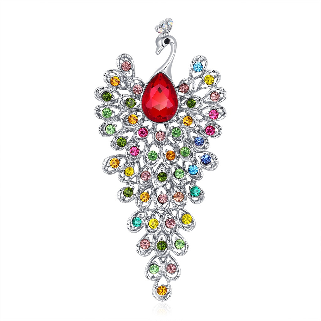 European and American new personality alloy full diamond peacock brooch fashion animal corsage pin accessories factory spot