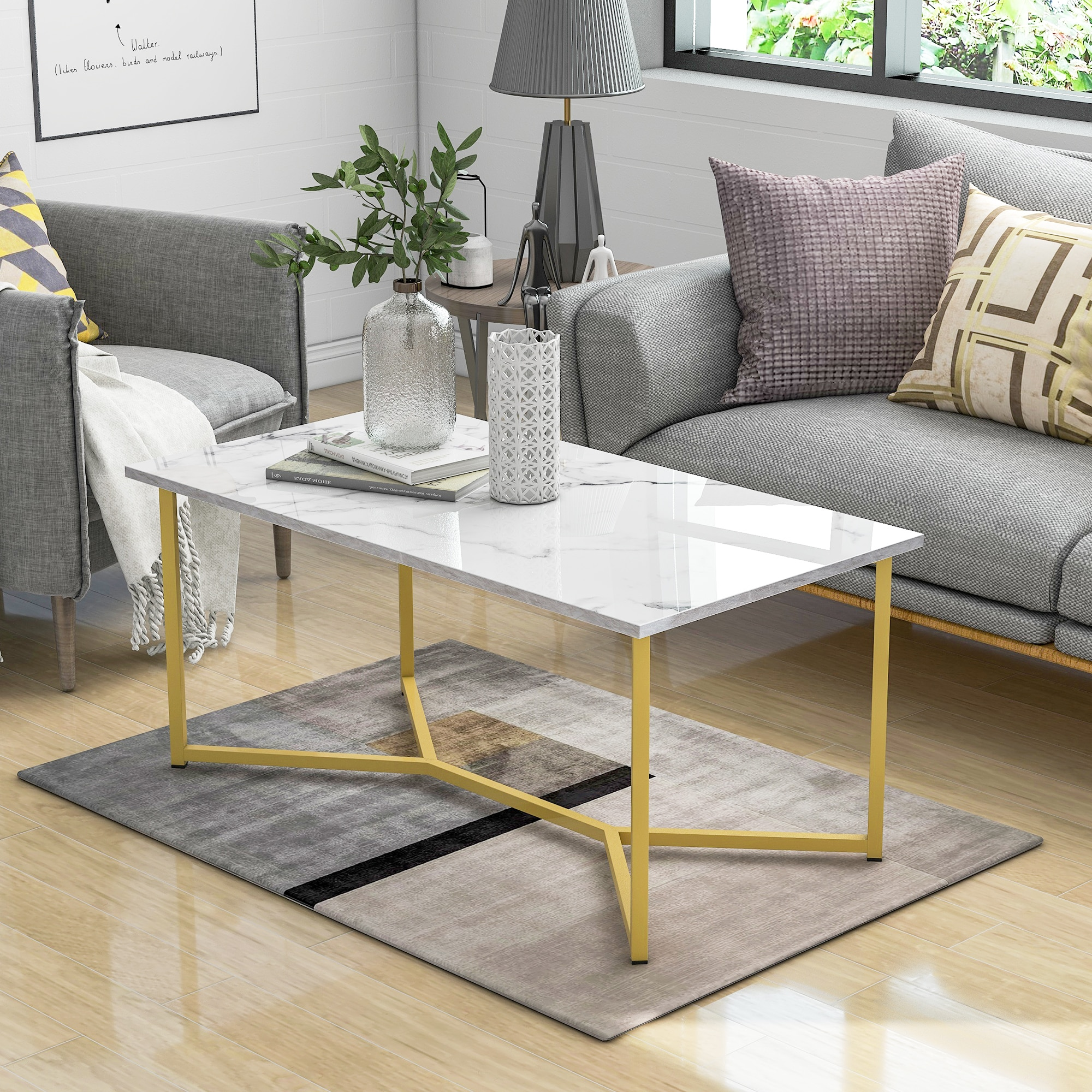 flash furniture 24 x 42 rectangular black laminate table top with 22 x 30 table height base Modern Rectangle Wooden Coffee Table Stylish White Marble Top X-shape Gold Black Base Simple Retro Industrial Style Home Decor