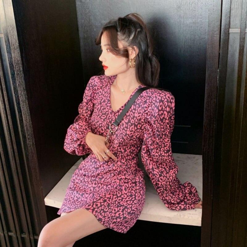 Naughty Girl Look Leopard Print One Piece Dress Short Retro Party Time Puff Sleeve Petite Robe Femme Vestido Fiesta