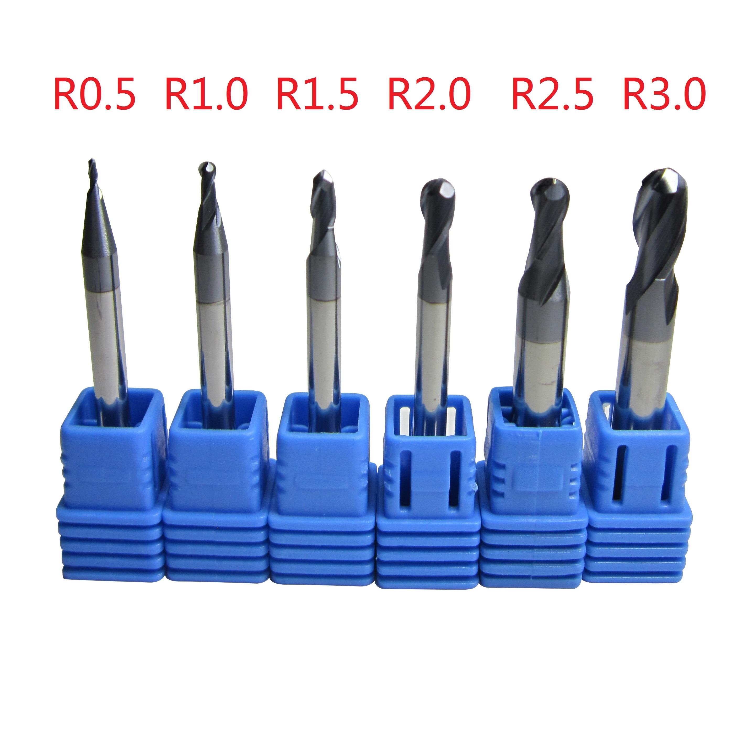 6PCS Tungsten Carbide Ball Nose End Mill set CNC machine milling cutter Ø 1mm - 6mm metalworking HRC45 HRC55 HRC58 HRC62 HRC68