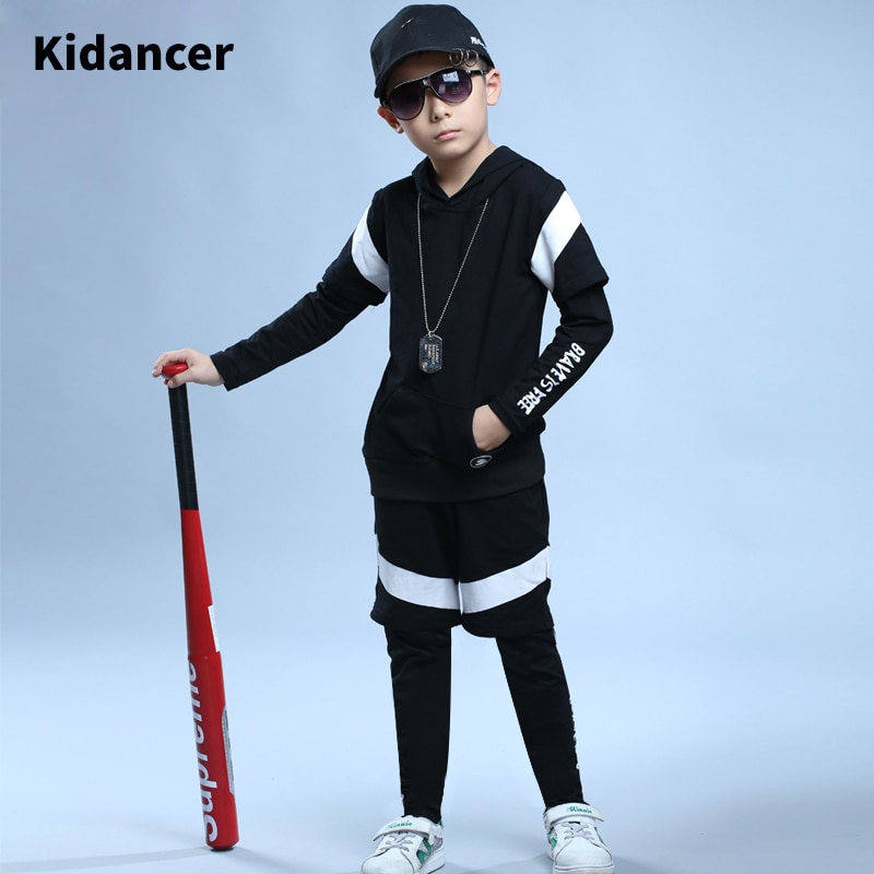 Kids Clothes Dance Sets Suit Streetwear Boy Clothes Hip Hop Jazz Hooded Tracksuit Black Long Sleeved Unisex Clothing 3Pieces Set