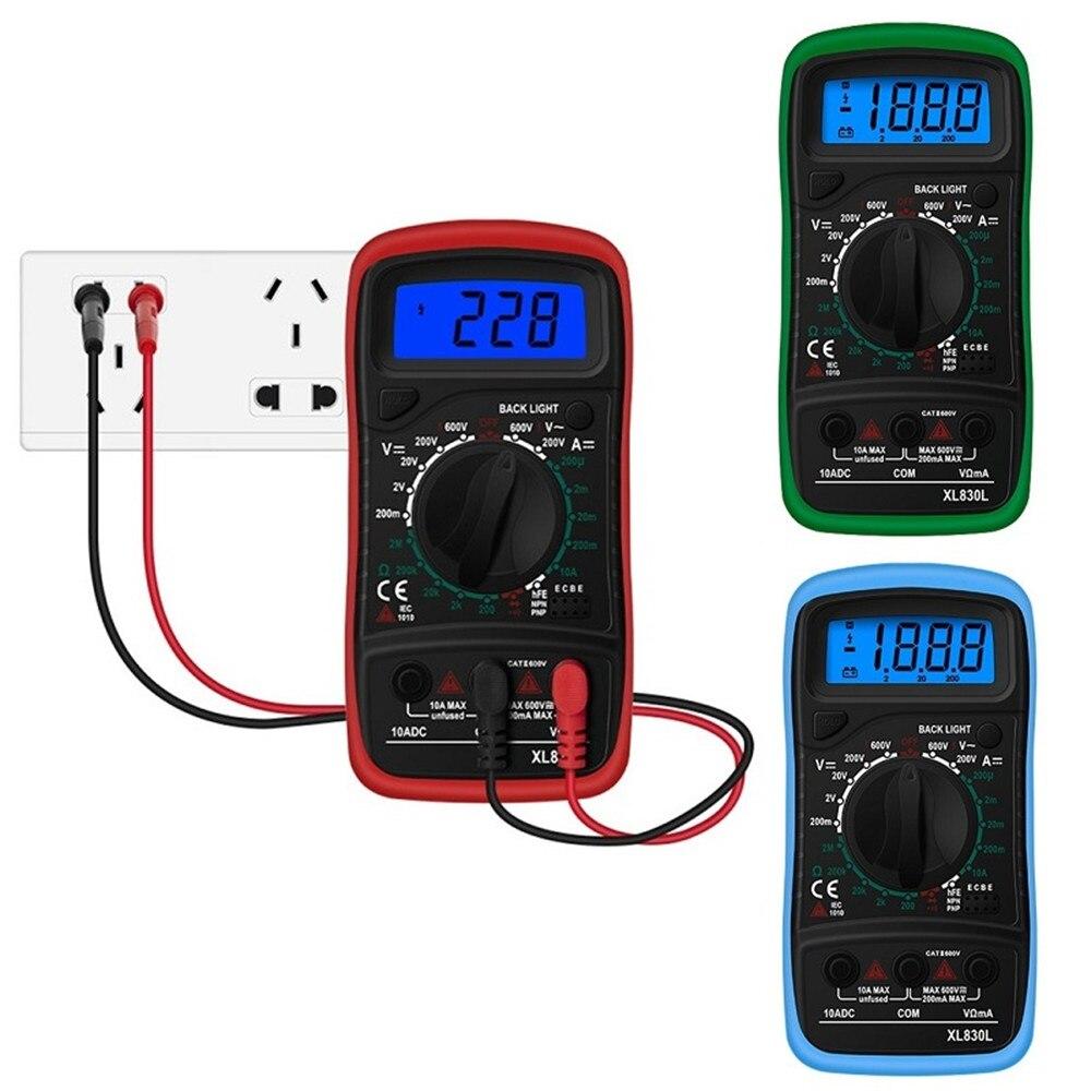 Multímetro Digital LCD XL830L, amperímetro CA/CC, voltímetro Ohm, medidor de voltaje, retroiluminación, protección con sonda