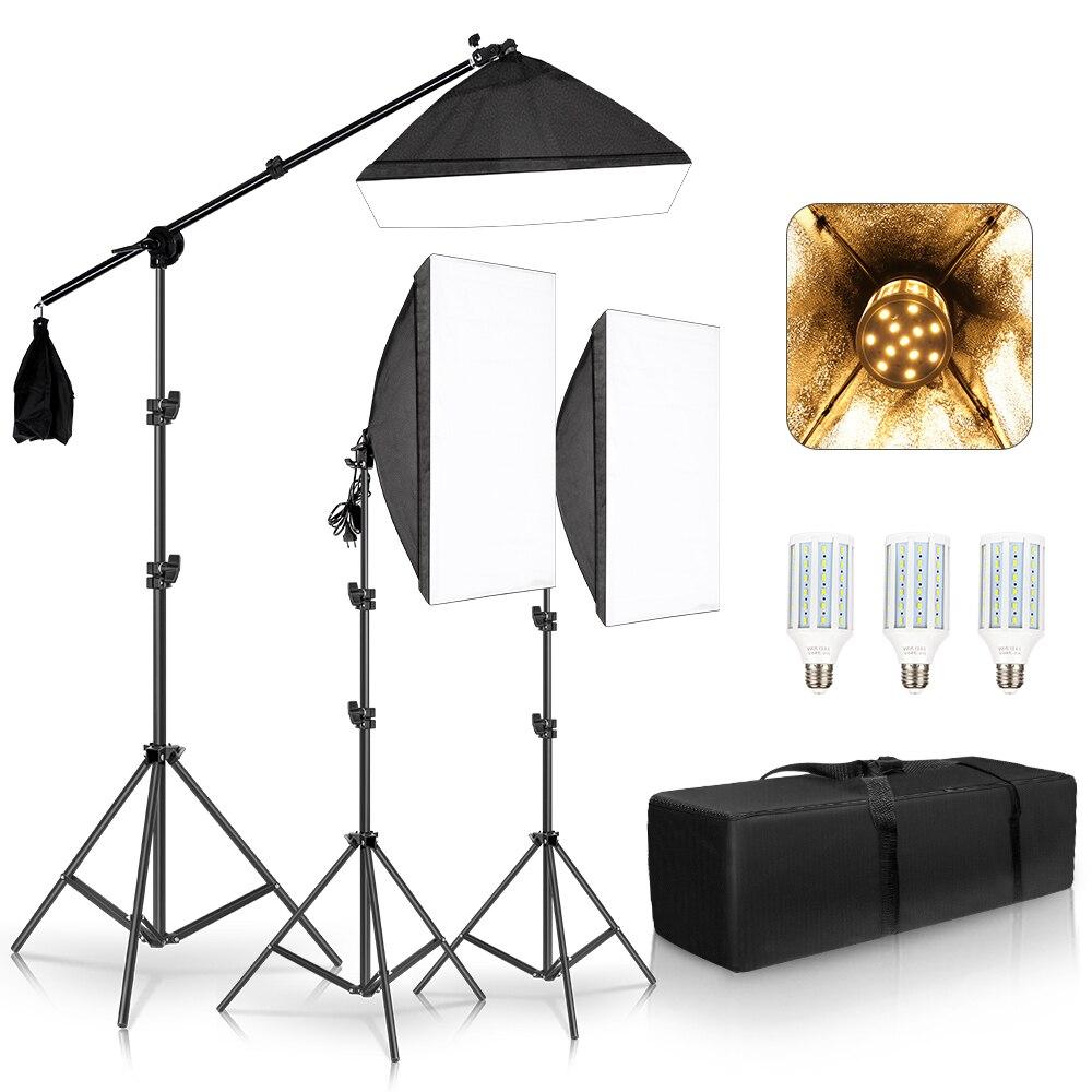 Kit de iluminación continua de luces Softbox para estudio fotográfico profesional equipo de brazo de soporte 3 uds caja suave, Bombilla amarilla con saco de arena