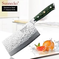 sunnecko 7 cleaver knives damascus steel japanese vg10 blade kitchen knife green chaff husk handle sharp meat vegetable cutter