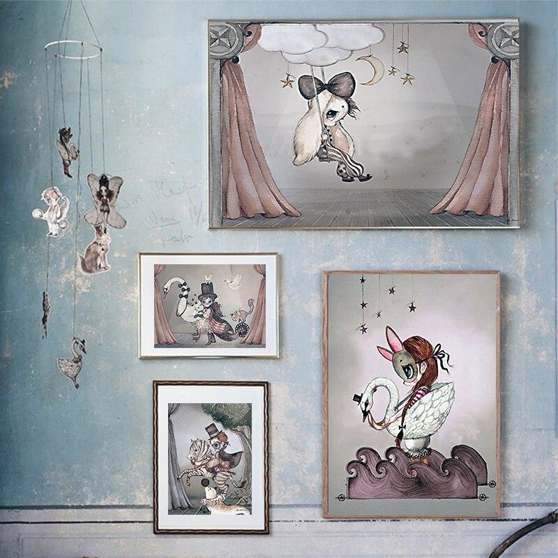 Carteles escandinavos de Ms. Rabbit Swan, decoración para dormitorio infantil con estampado de dibujos animados, cuadro en lienzo, pintura nórdica para niños y niñas, decoración para habitación de bebé