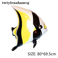 Grand ballon de dessin animé poisson marin   Nouvel animal, falx dauphin requin hippohorse, papier aluminium gonflable, jouet gonflable, ballons décoratifs pour fête de plage