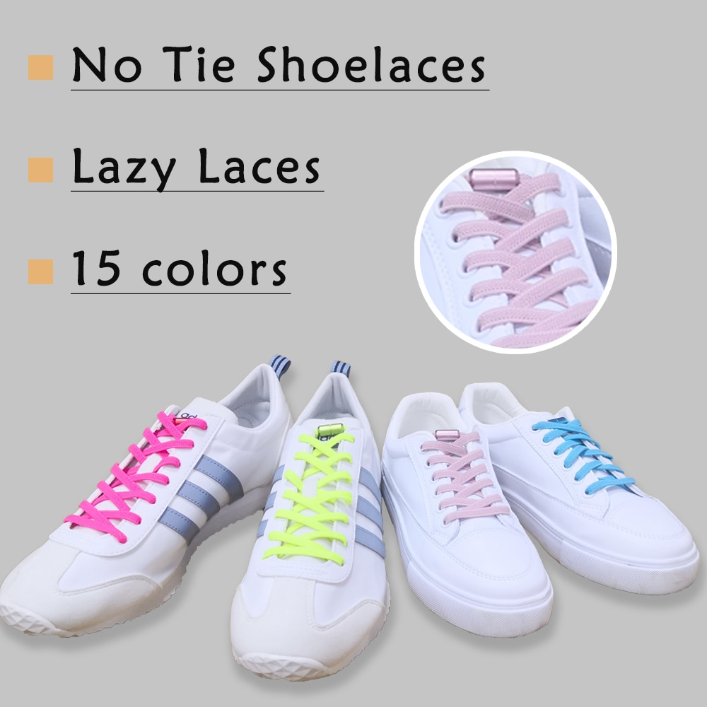 AliExpress - 1 Pair No Tie Shoe laces Elastic Shoelaces Outdoor Leisure Sneakers Quick Safety Flat Shoelace Kids And Adult Unisex Lazy laces